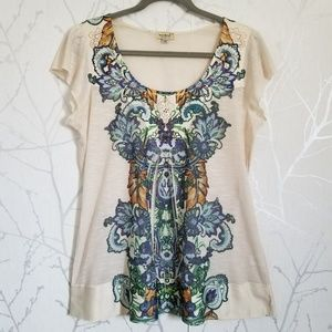 One World Off White Floral Print Top w/ Bling